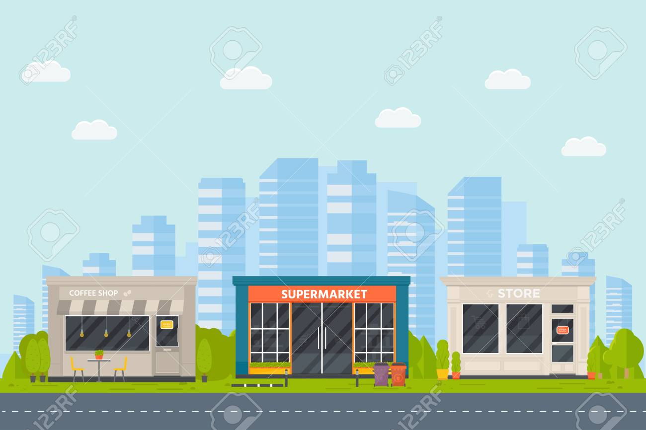 Set Of Vector Flat Design Restaurants Exterior And Shops Facade Royalty Free Cliparts Vectors And Stock Illustration Image 108534977