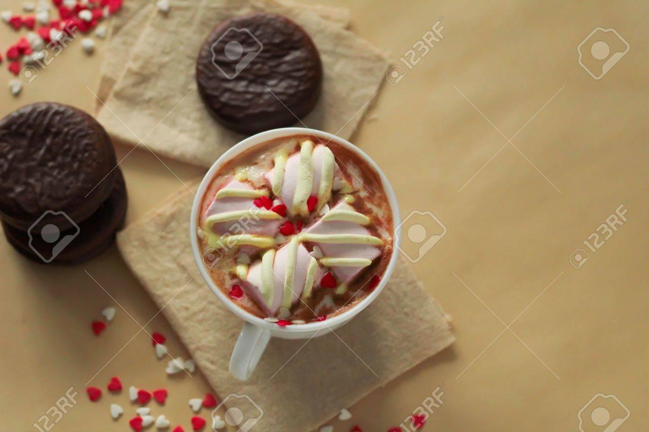 Delicious Mini Kuchen Mit Schokolade Und Heissem Kakao Mit