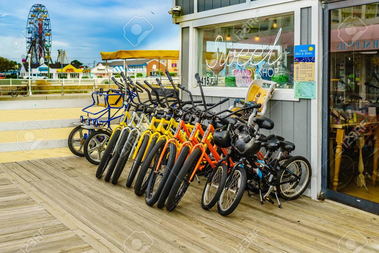 Boardwalk, Virginia Beach US - September 12, 2017 Bicycle rental,