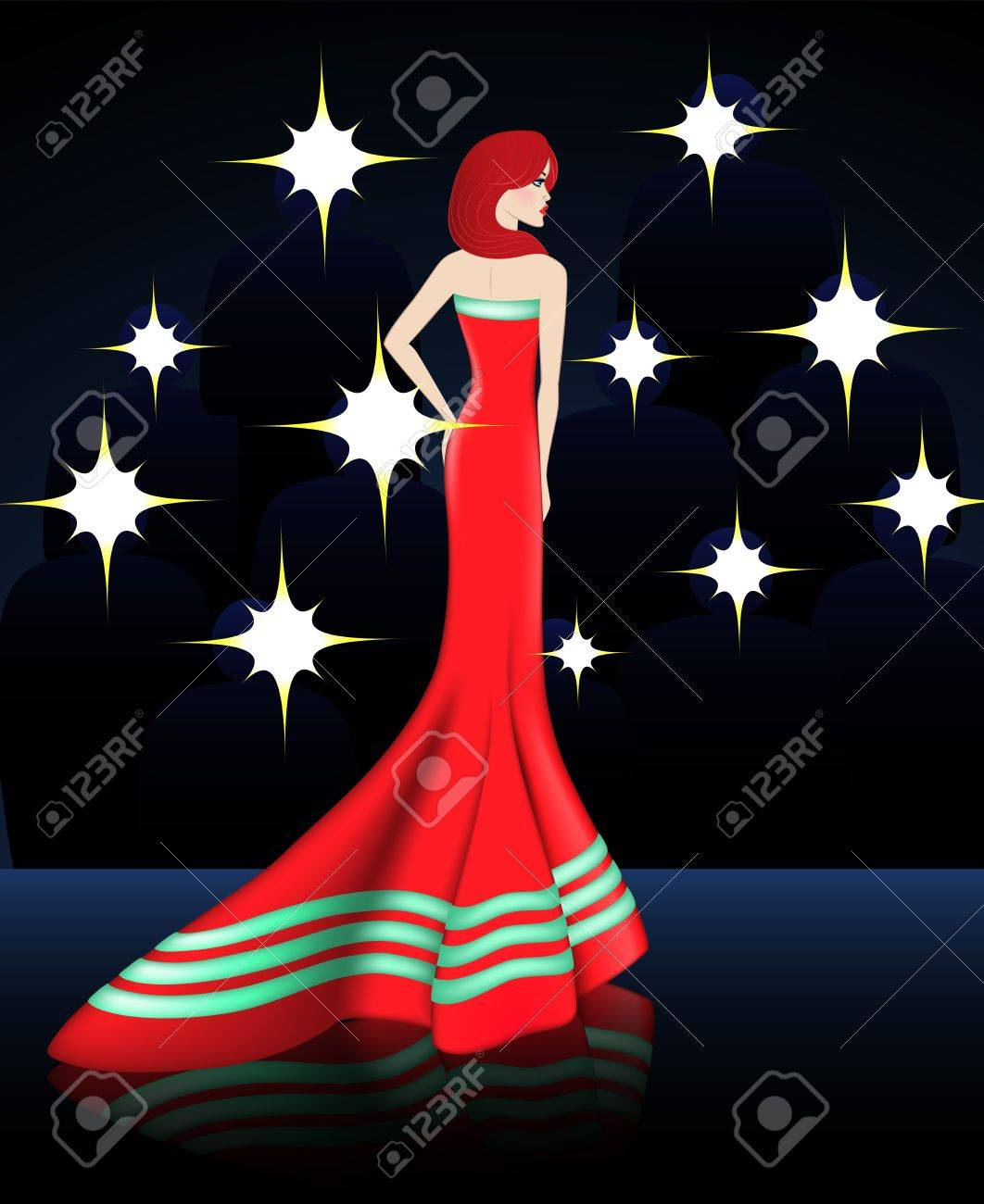 Diese Dame Ist Celebrity Sie Im Eleganten Roten Kleid Mit Klebeband ...