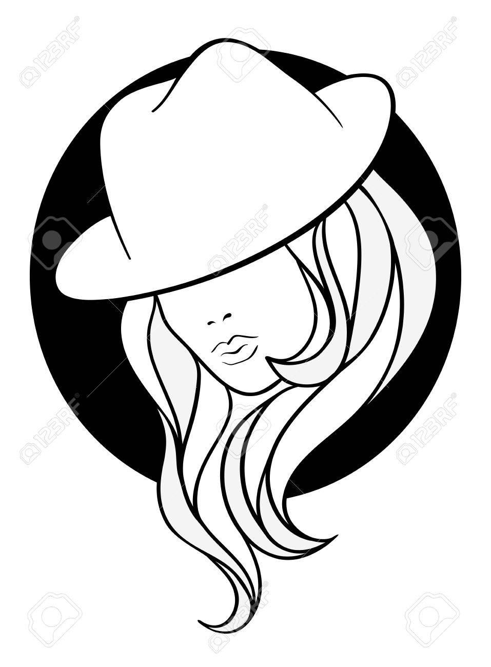 Chica joven en un sombrero de gángster de la vendimia en fondo negro ronda.  Línea e7cc34e4dba