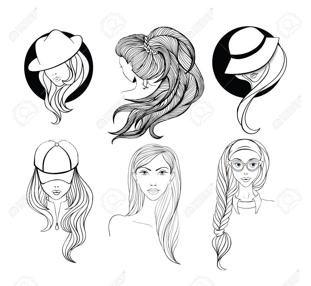 Six Young Girls With Long Hair Made In Sketch Doodling Style