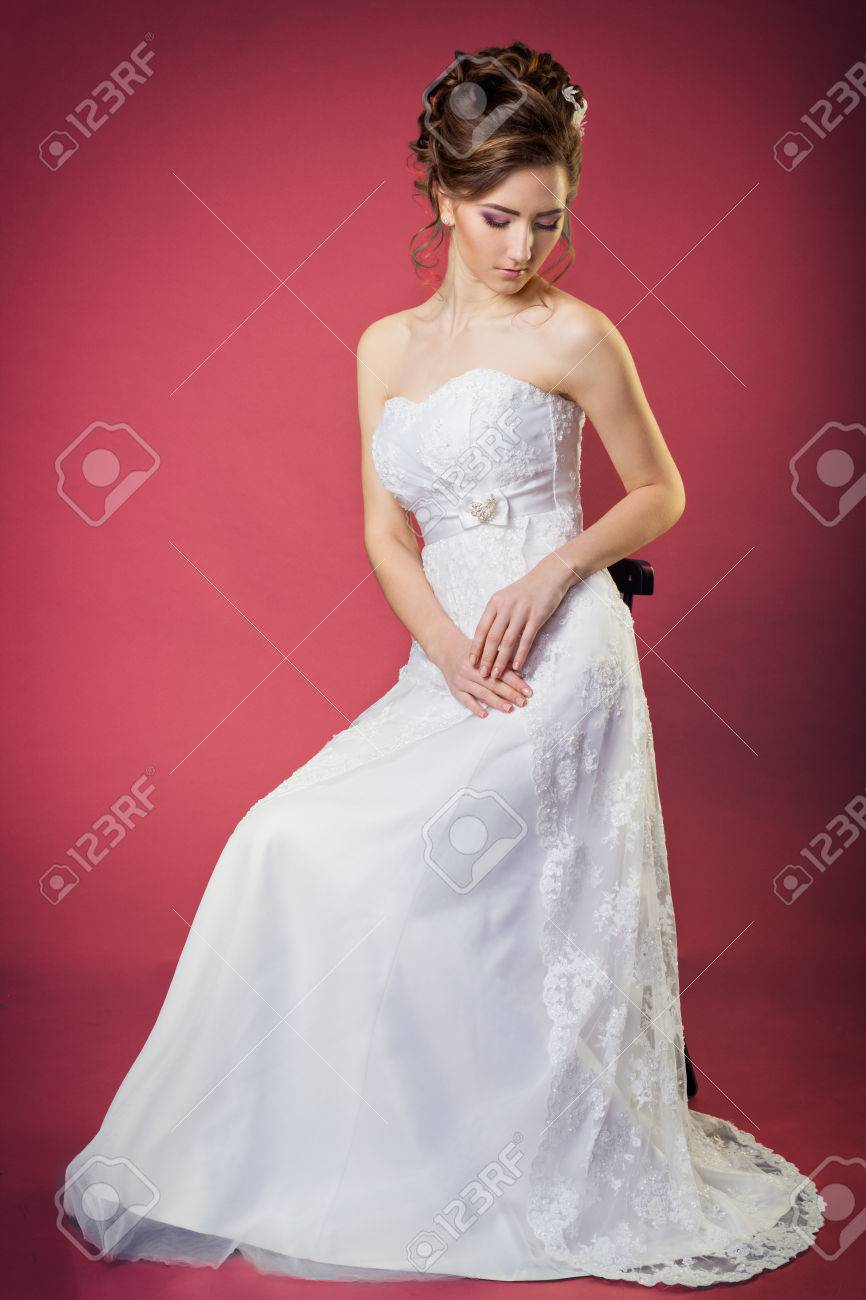 Beautiful Gentle And Elegant Girl Women Bride In A White Dress ...