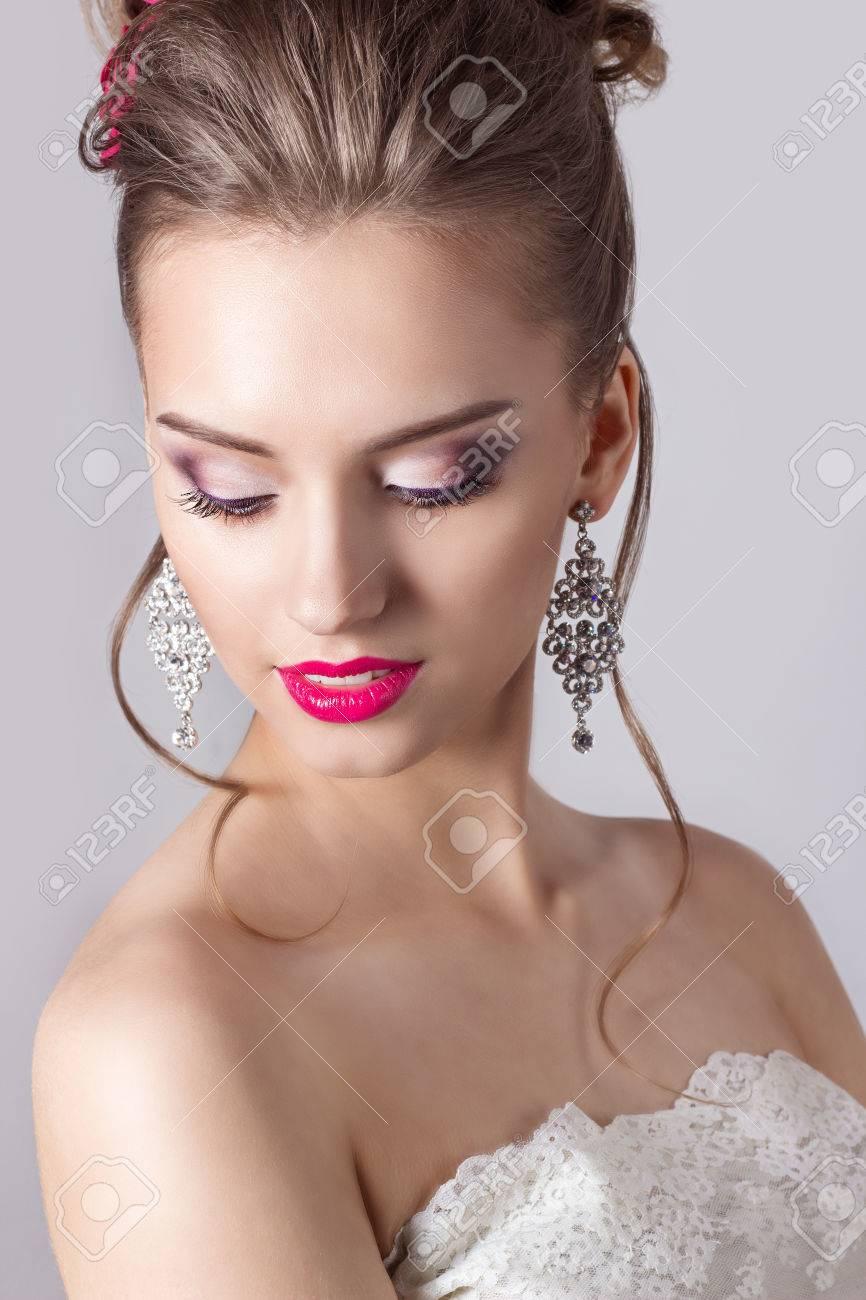 Mode Porträt Einer Schönen Attraktiven Mädchen Mit Einem Sanften