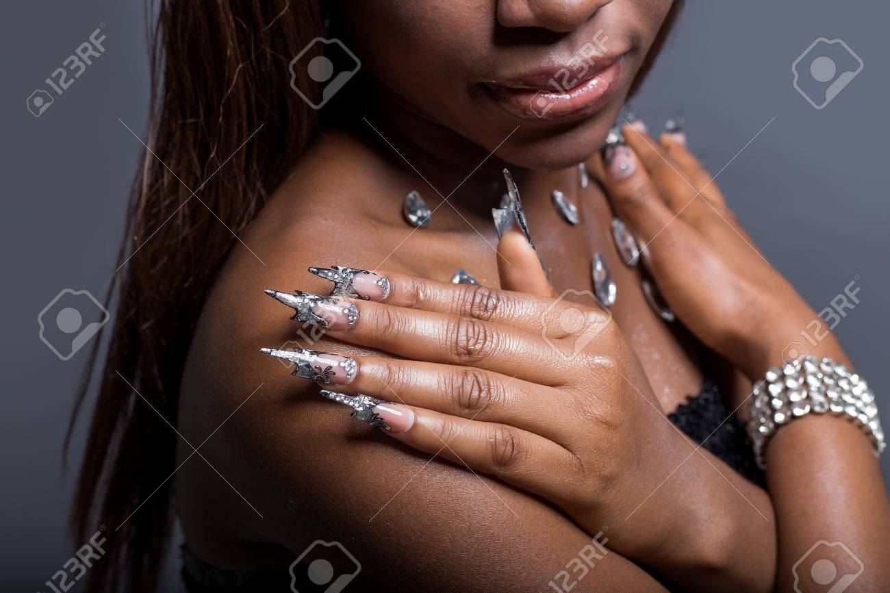 Beautiful Hand Of The Girl With Dark Skin On The Shoulders Of ...
