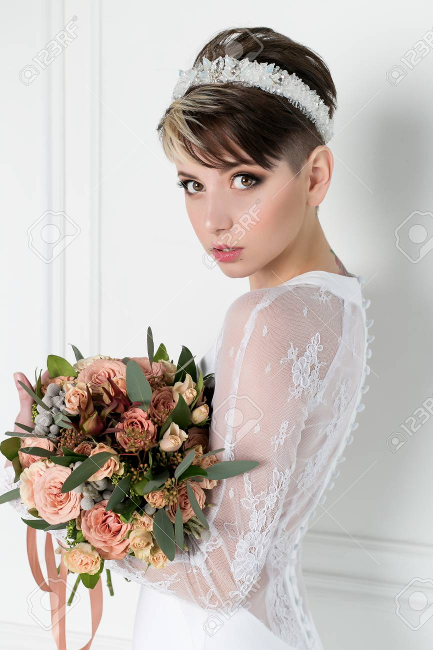 Beautiful Tender Sexy Bride Girl With Short Haircut With Crown ...