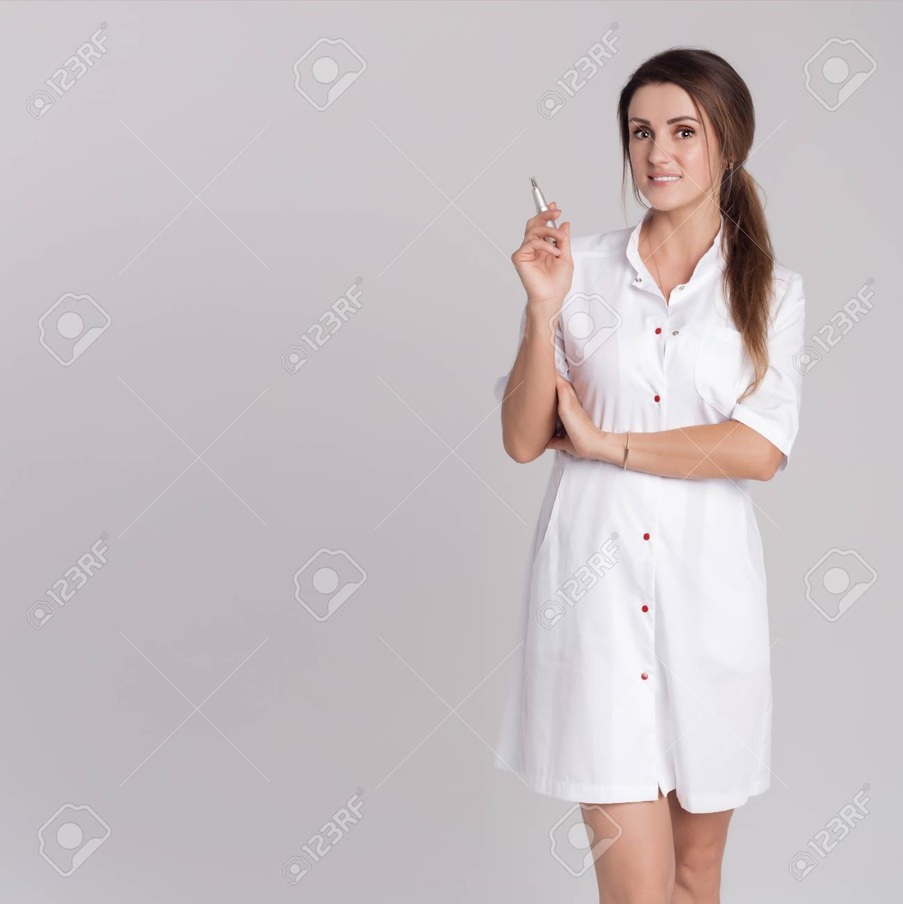 Beautiful Young Girl In White Dressing Gown Master On Permanent ...