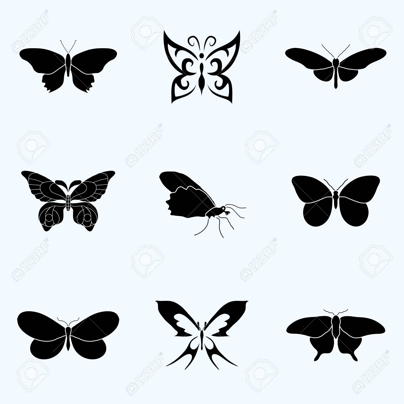 Butterfly Set Symbol Geometric. Pattern Symbol. Vector Illustration ...