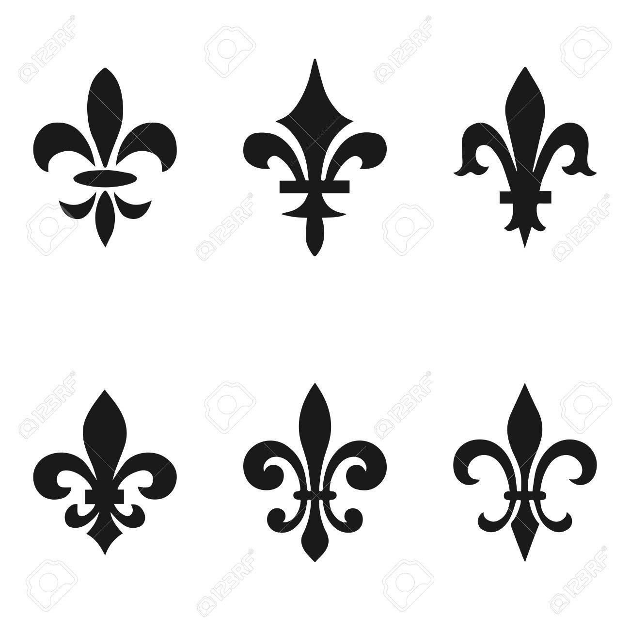 Colección De La Flor De Lis Símbolos Siluetas Negras Símbolos Heráldicos Ilustración Del Vector Signos Medievales Resplandeciente Francés Flor