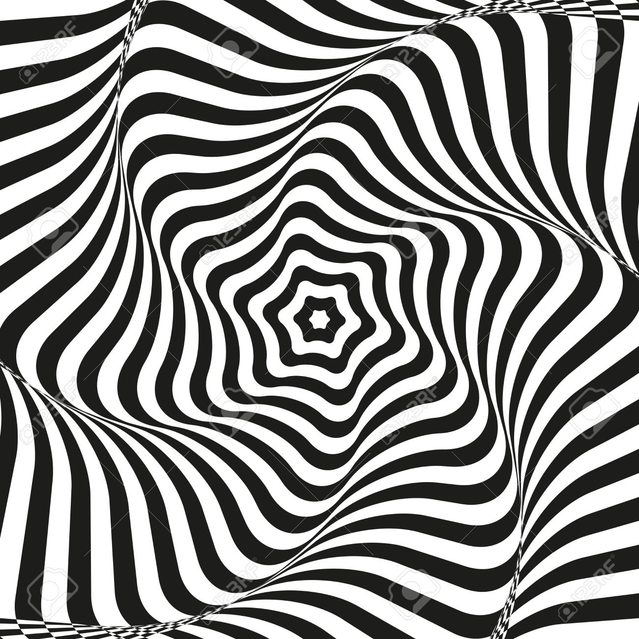 錯視芸術の背景 目の錯覚 白と黒のデスクトップの壁紙 グラフィック デザイン ベクトル曲率効果を持つテクスチャーを繰り返しします 印刷 繊維 包装 装飾用テンプレートのイラスト素材 ベクタ Image