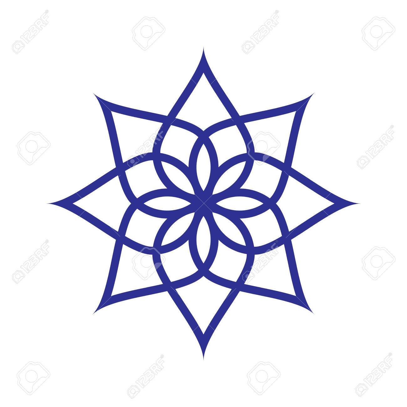 Circular Pattern. Geometric Icon. Seven Pointed Star On White ...