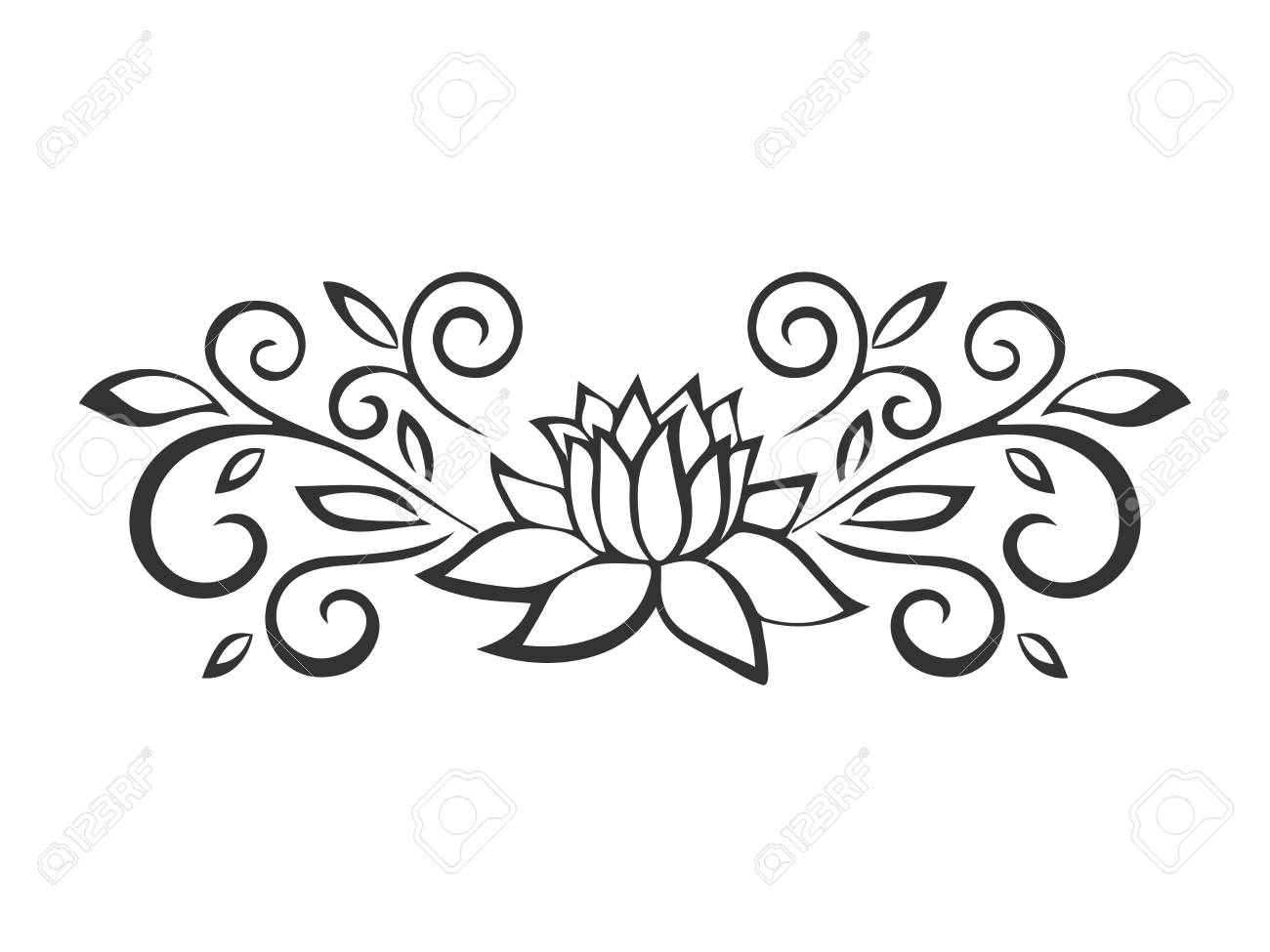 lotus sketch plant motif flower design elements vector rh 123rf com
