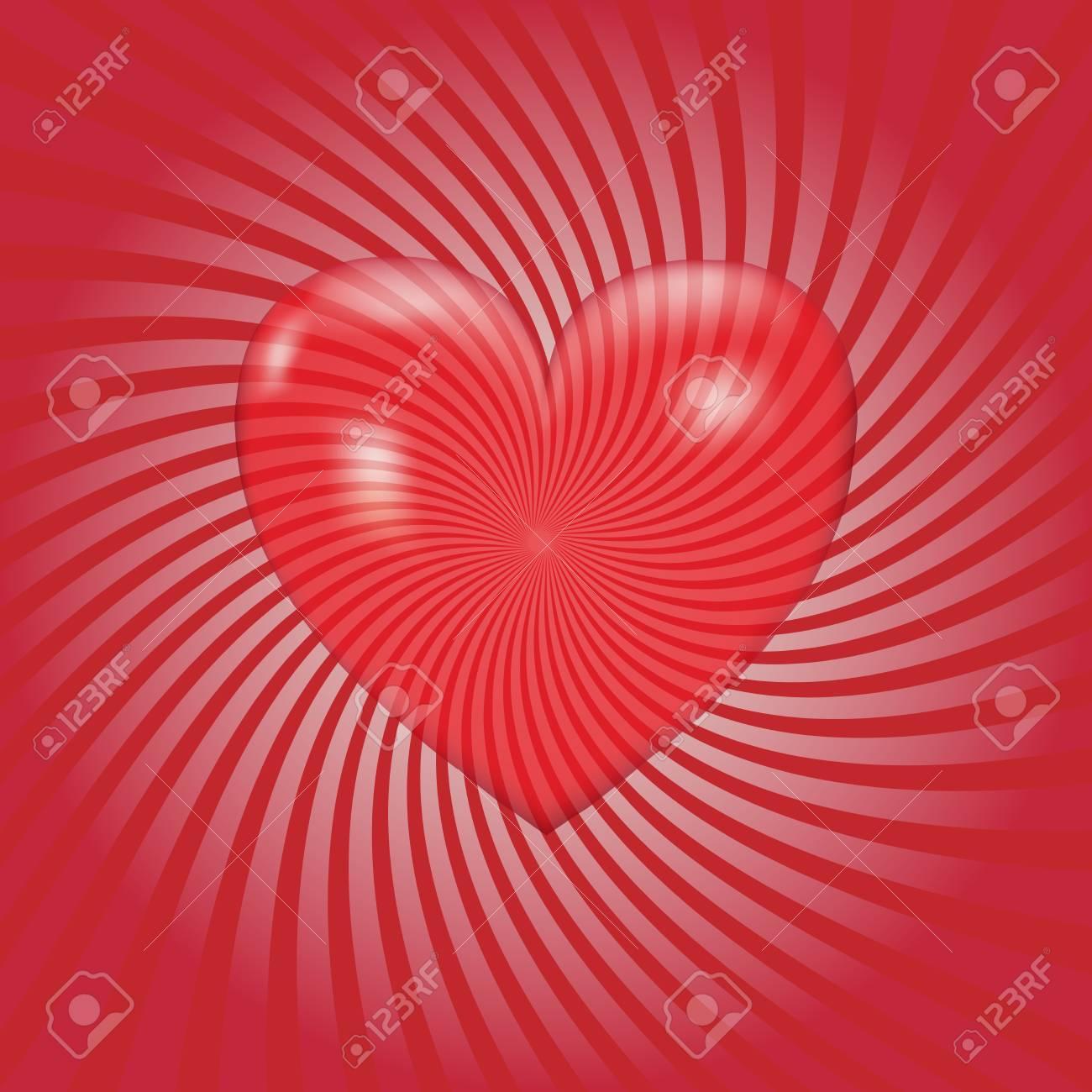Corazón Abstracto En El Fondo Del Resplandor Solar. Ilustración ...