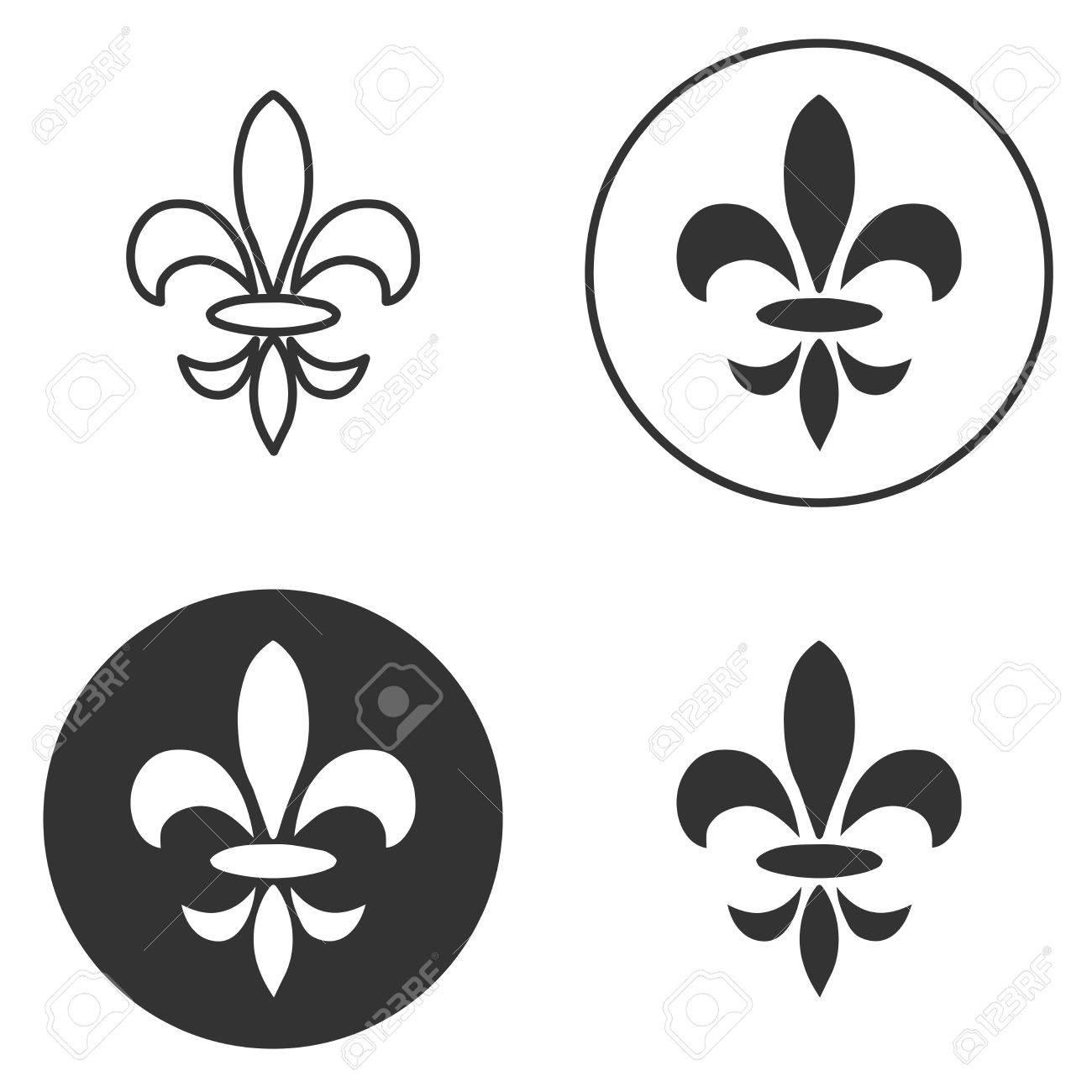 Fleur Illustration collection of fleur de lis symbols, black silhouettes - heraldic