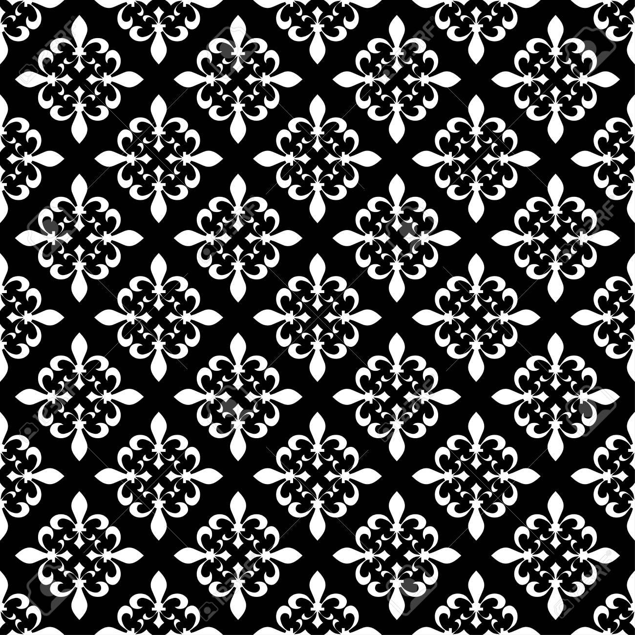 ec358066af7c6 Ilustracion vectorial Plantilla blanca negra. Textura floral. Decoración  elegante