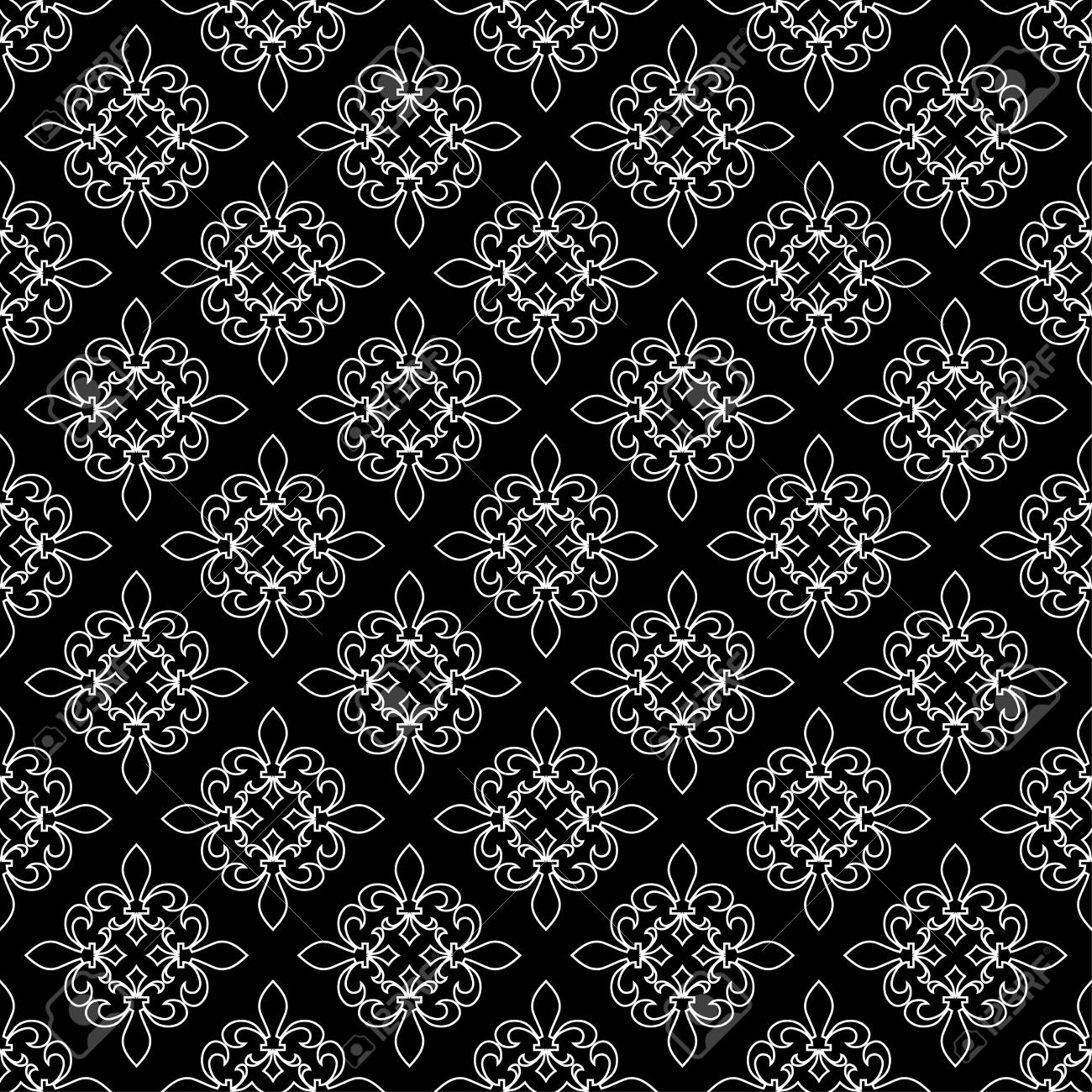 fe2b6de02a9ce Foto de archivo - Patrón sin costuras de flor de lis Ilustración vectorial  Plantilla blanca negra. Textura floral Decoración elegante