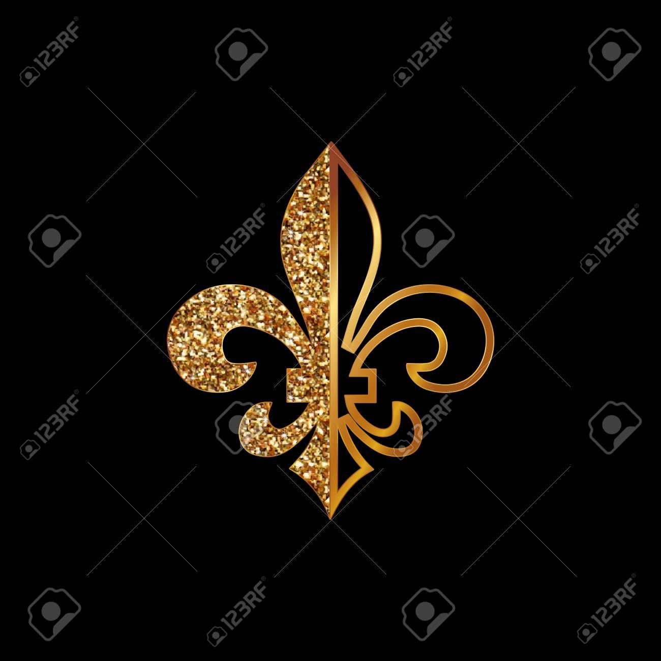Fleur De Lis Symbols Golden Glittering Silhouettes Heraldic