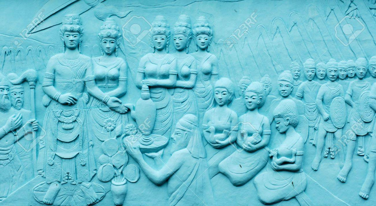 Indonesia, Java: Frescoes in bas relief in blue; carved and painting images related with indonesian  legends and beliefs Stock Photo - 2593282