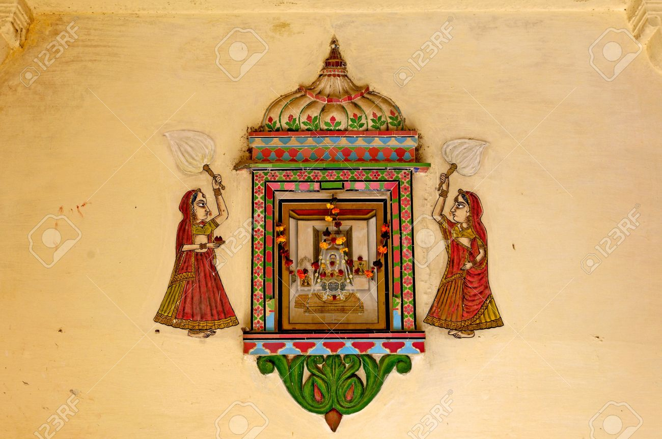 India, Udaipur: fresco on a wall