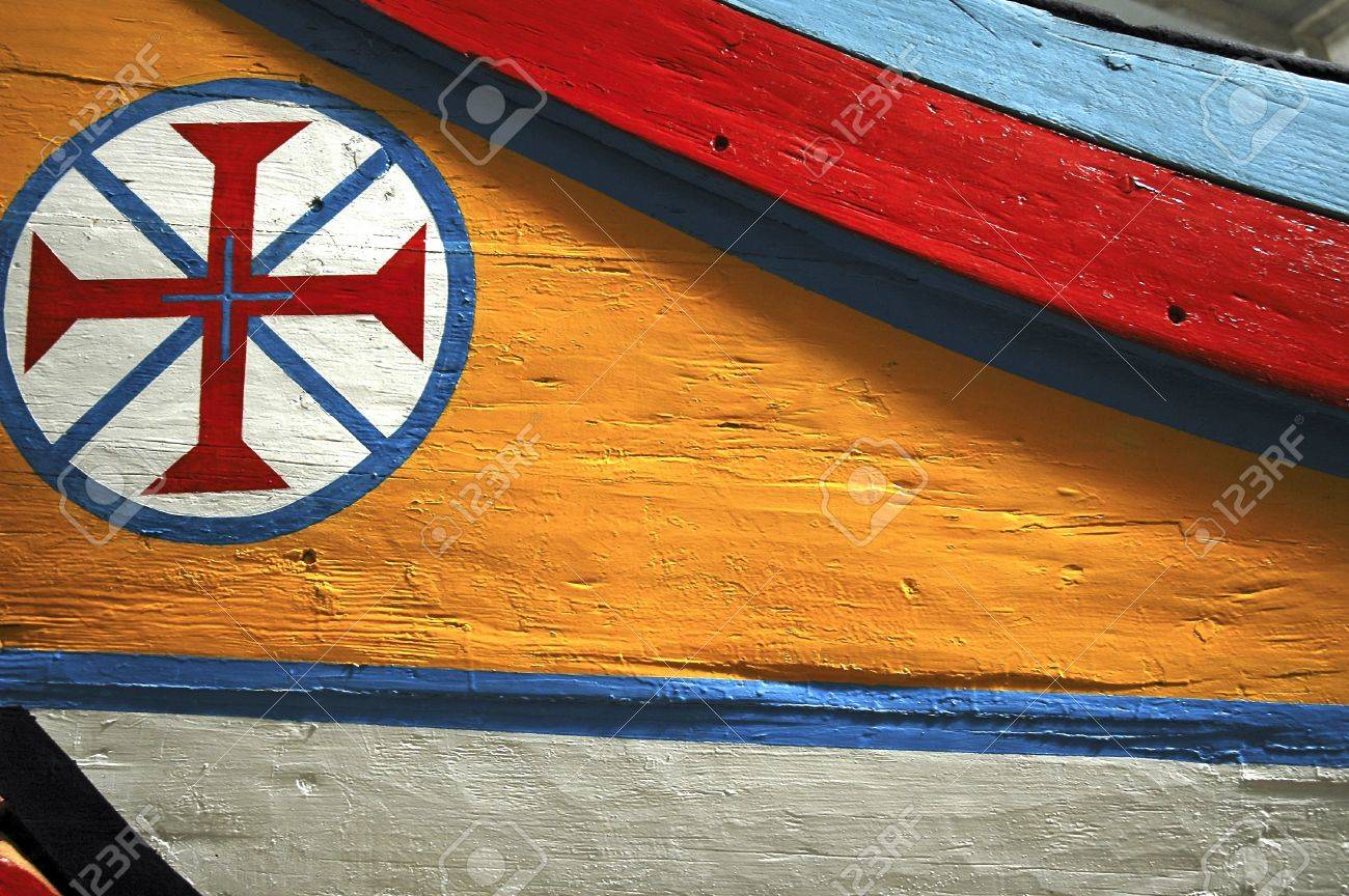 Portugal Lisbon Decoration On A Boat The Symbol Of The Templars