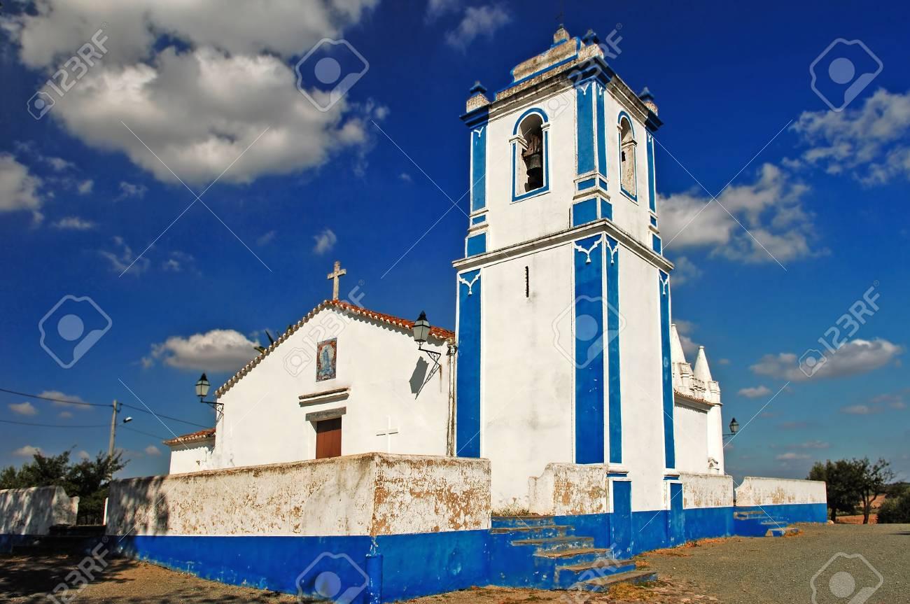 Portugal Alentejo Chapel Near Evora Blue Sky And White And