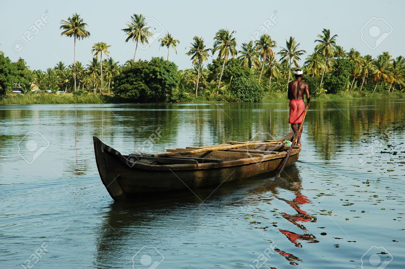 India Kerala Landscape With A Traditional Boat In The Backwater Stock Photo Picture And Royalty Free Image Image 3571436