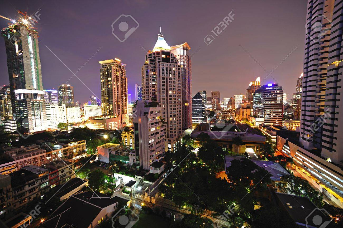 In Thailand, night sky view of modern Bangkok; Silom district Stock Photo - 4094434