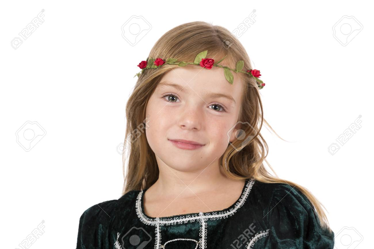 A girl dressed as a medieval princess posing for portrait. - 102638797
