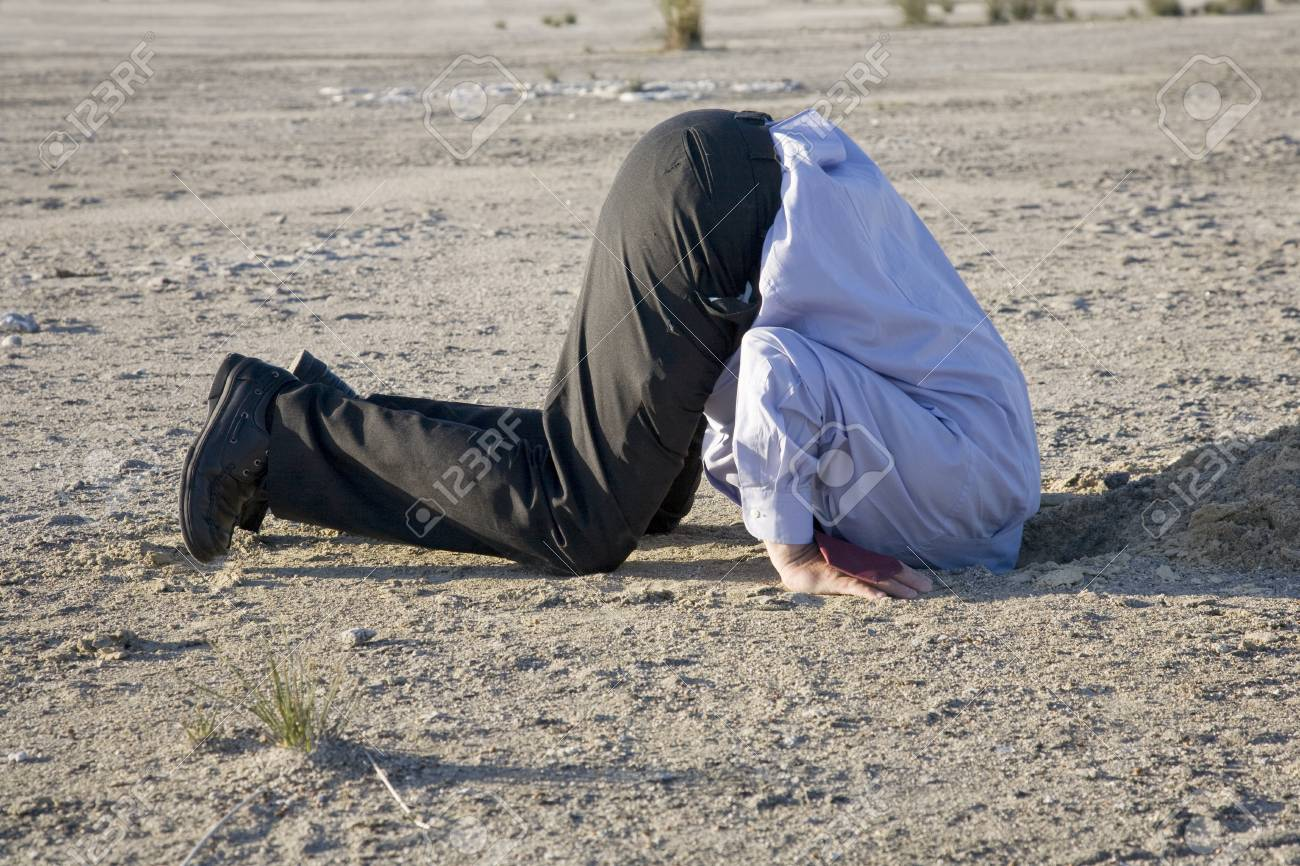 A powerful denial concept, man with his head in the sand. - 104076282