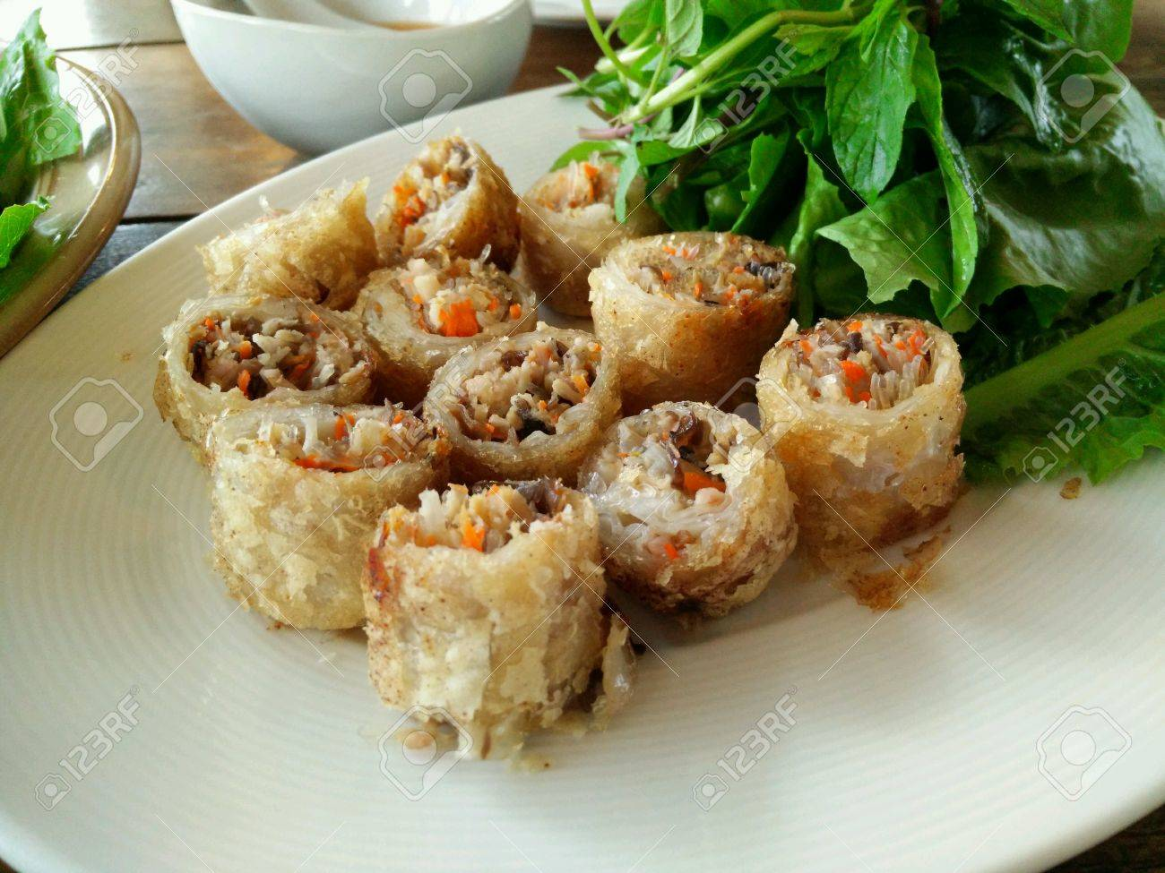 Fried Spring Roll From Lao Cuisine Stock Photo Picture And Royalty - Cuisine laotienne