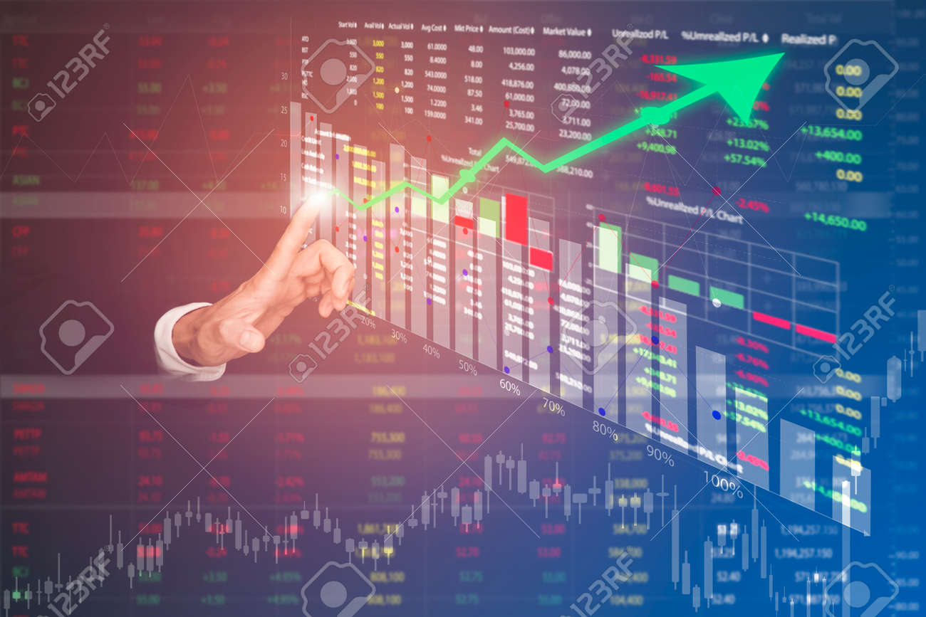 Businessman touch line arrow on the graph chart of stock market ,Technology Process System Business with Investment and stock market concept gain and profits with faded number charts. - 157287281