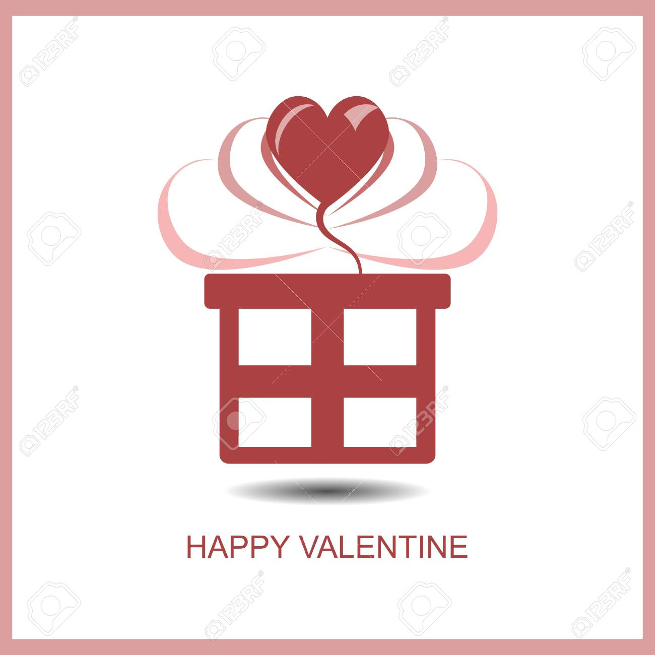 Red Logo Design With Gift Box And Heart Shape Happy Valentine Royalty Free Cliparts Vectors And Stock Illustration Image 138255771