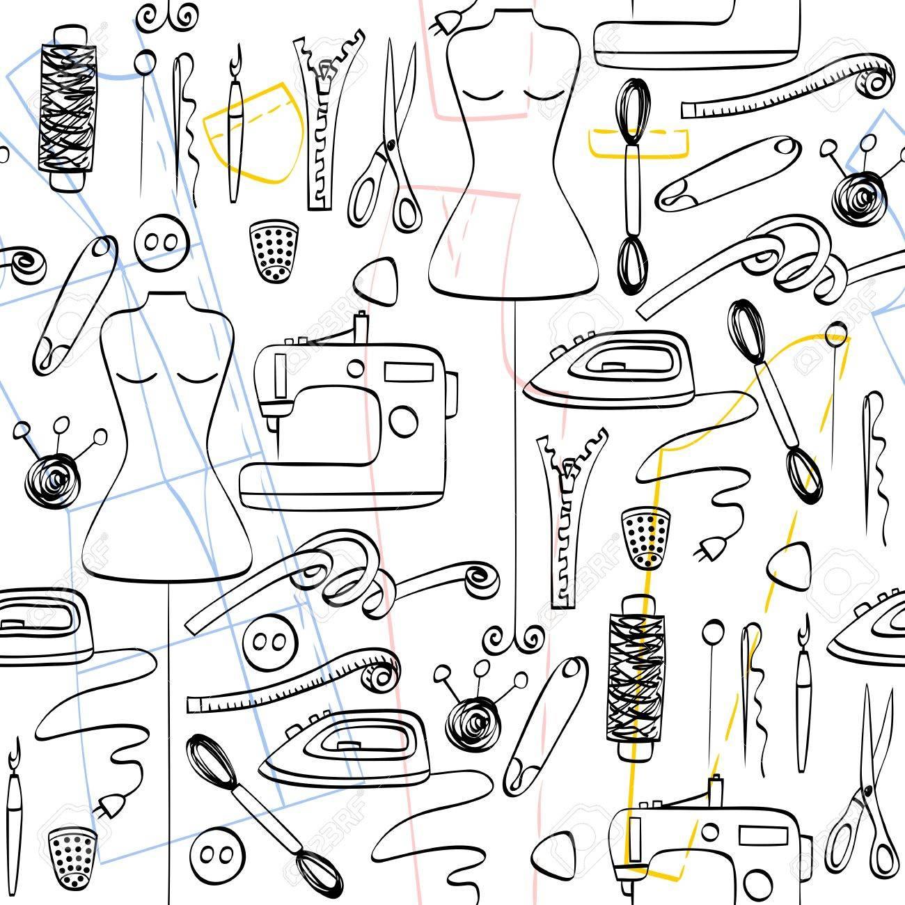 Equipos de confección sin costuras patrón de boceto, máquina de coser.