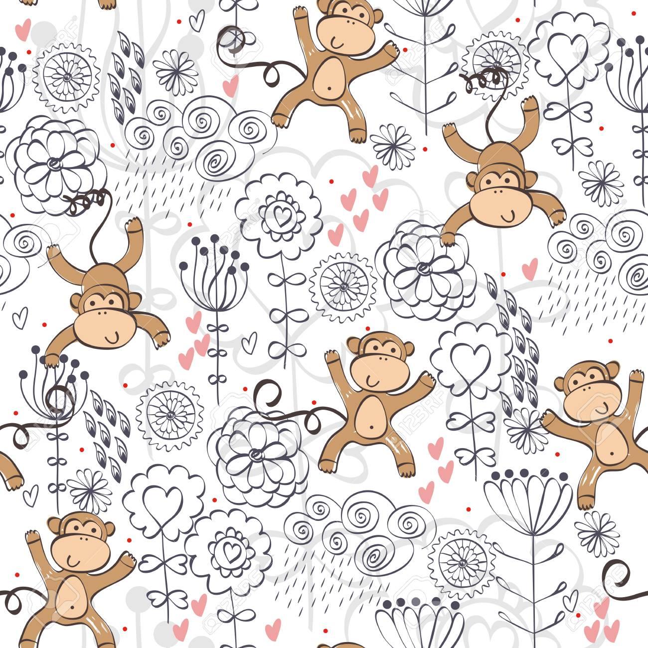 Ilustración De Vector Con Mono De Dibujos Animados Con Flores ...