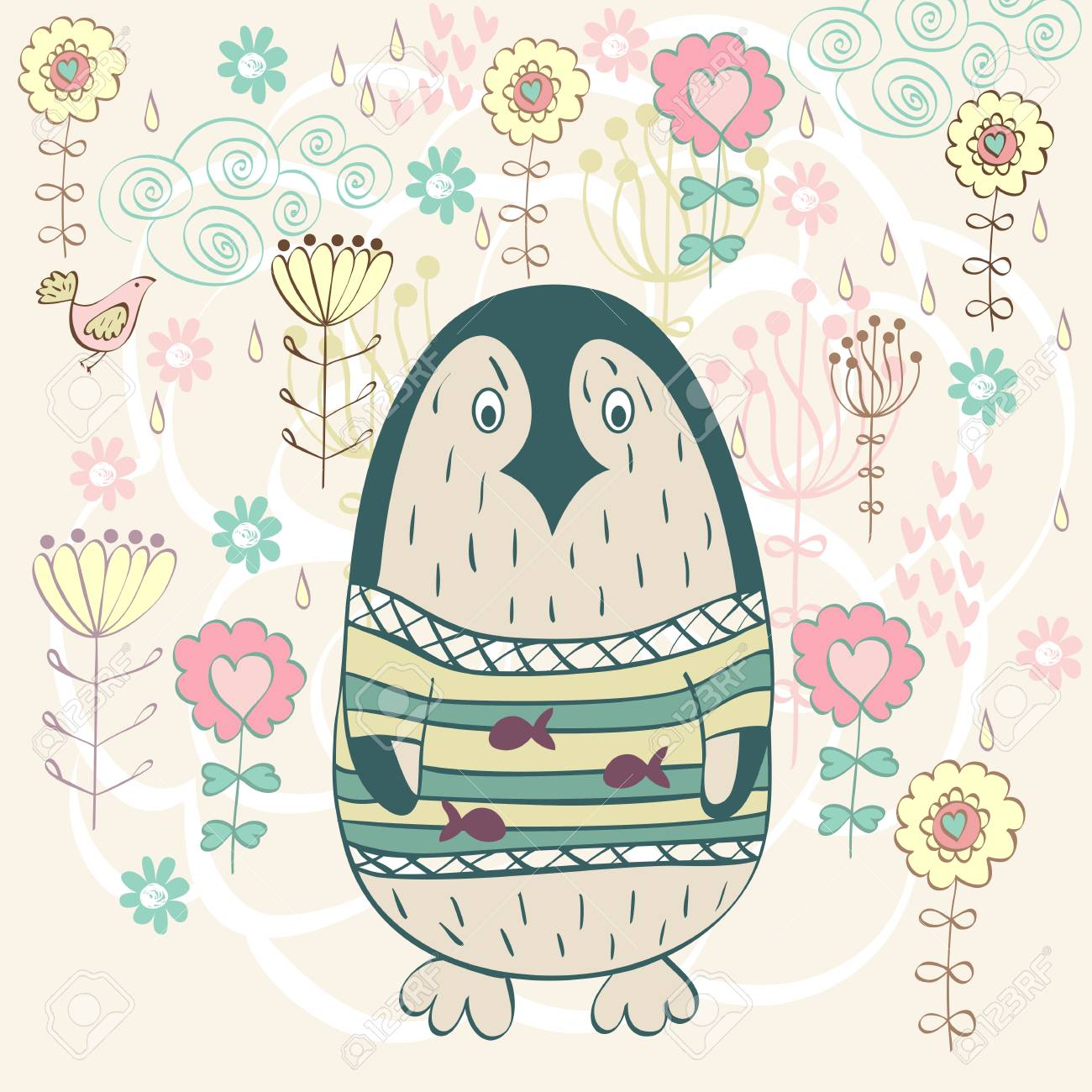 Cute Cartoon Penguin In Spring Flowers Vector Illustration Royalty