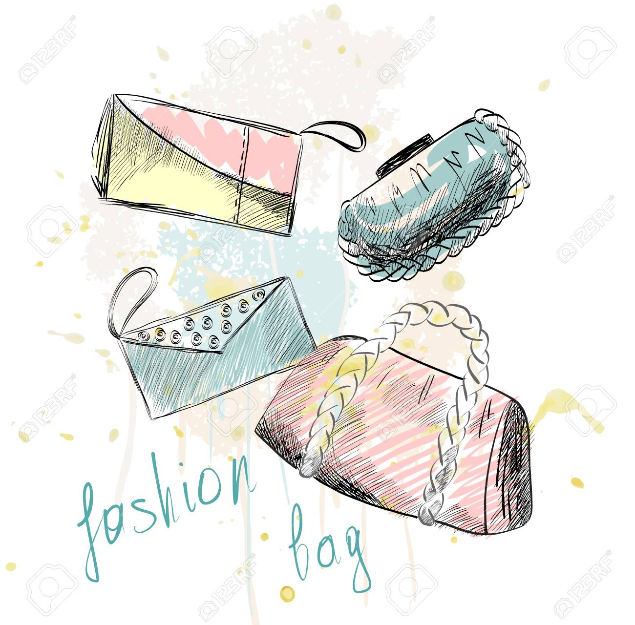 流行のファッションのハンドバッグ。 おしゃれな手描きイラスト