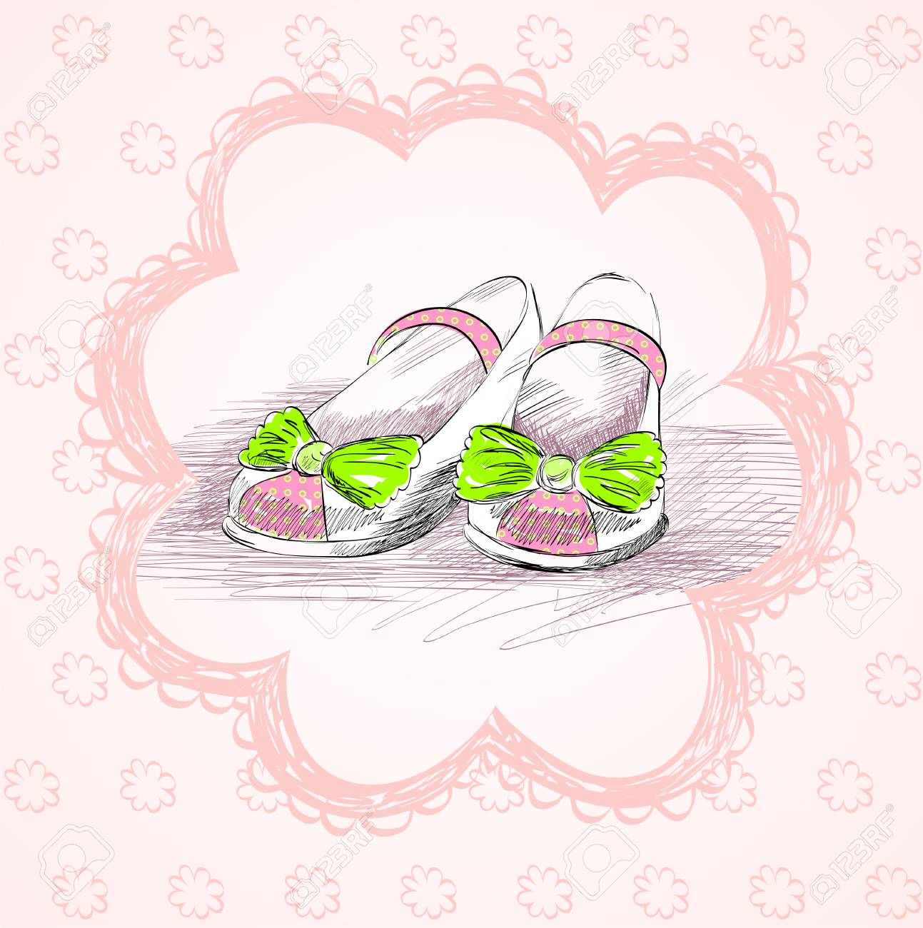 Modische Schuhe Für Kleine Mädchen In Einem Rahmen Lizenzfrei ...