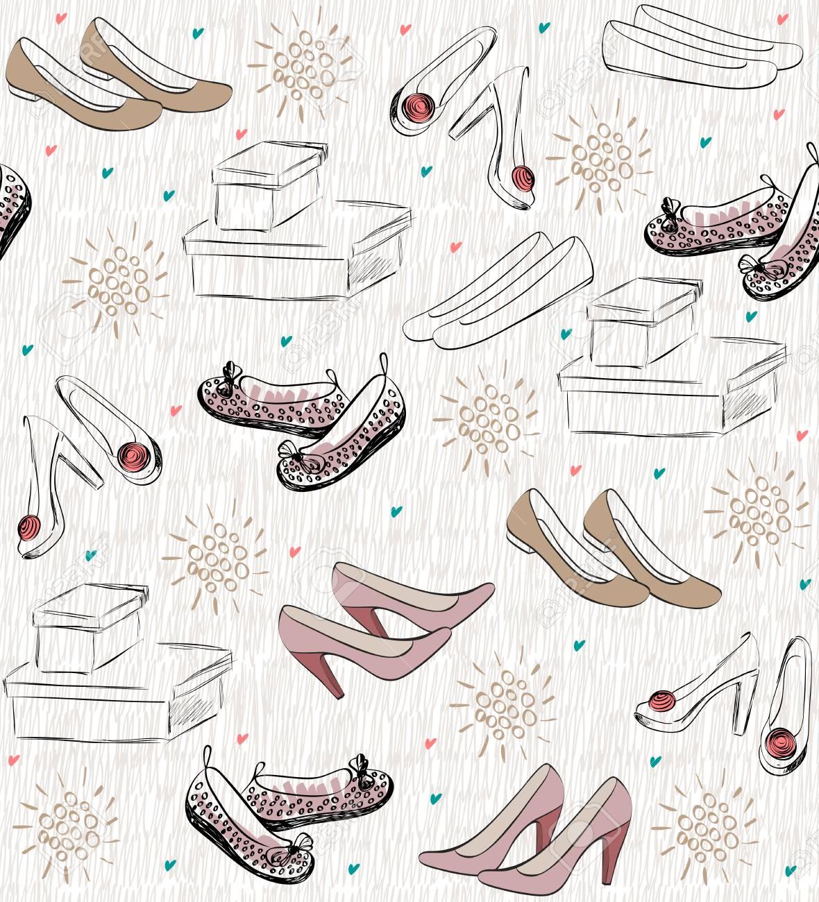 流行のファッション靴。 おしゃれな手描きイラスト。 ロイヤリティフリー
