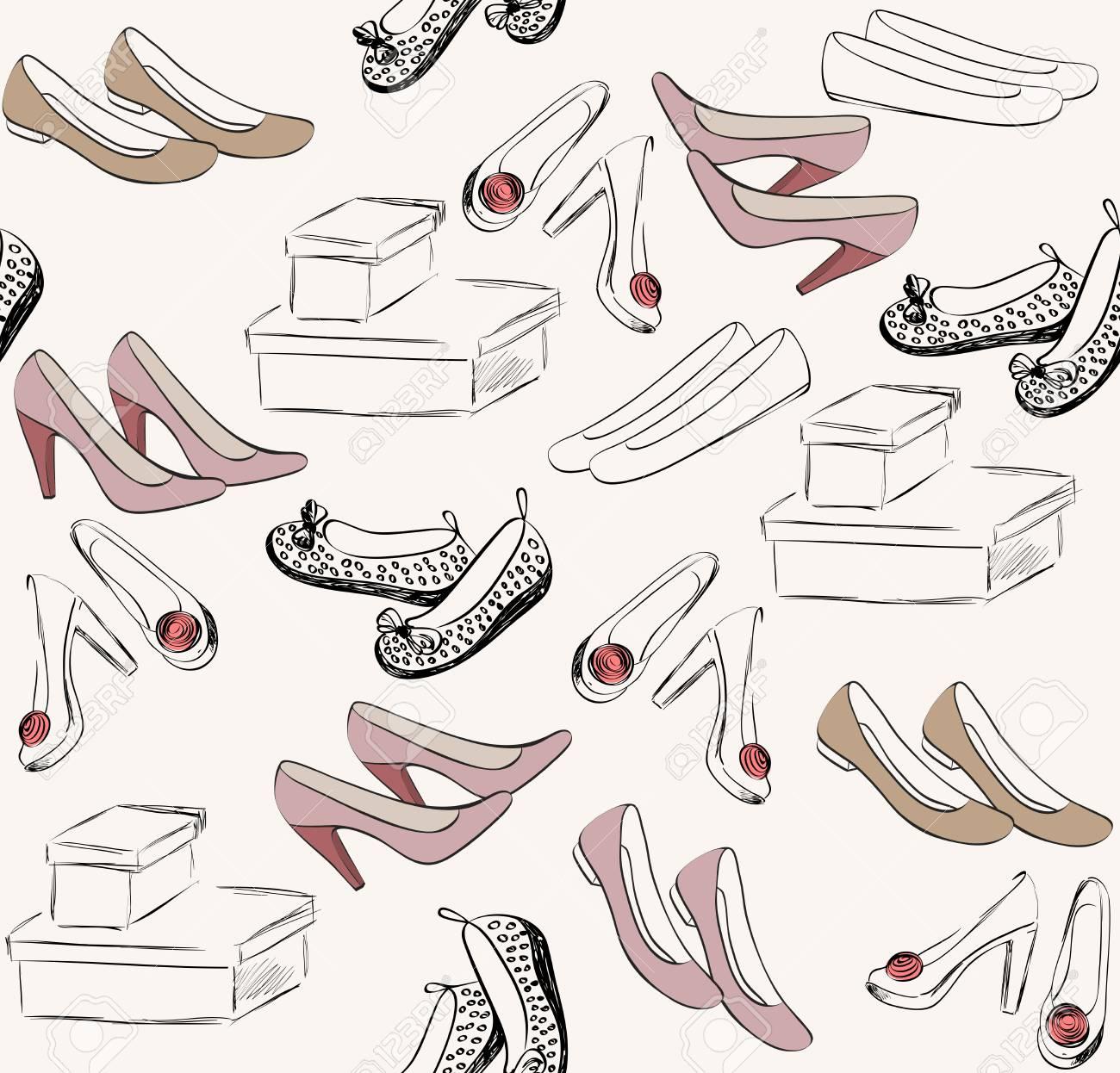流行のファッション靴。 おしゃれな手描きイラスト。