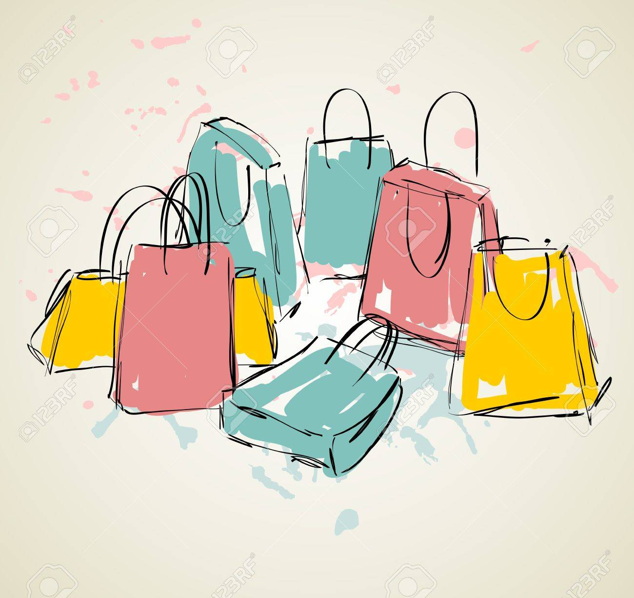 vector sketch illustration with colored shopping bags. - 64501281