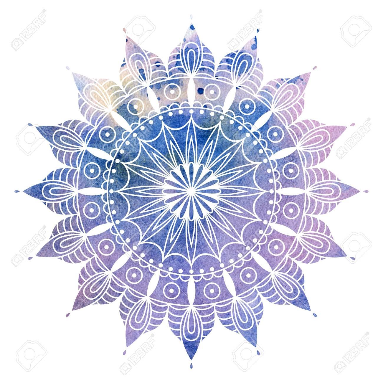 Mandala Bunte Aquarell Schone Runden Muster Detaillierte