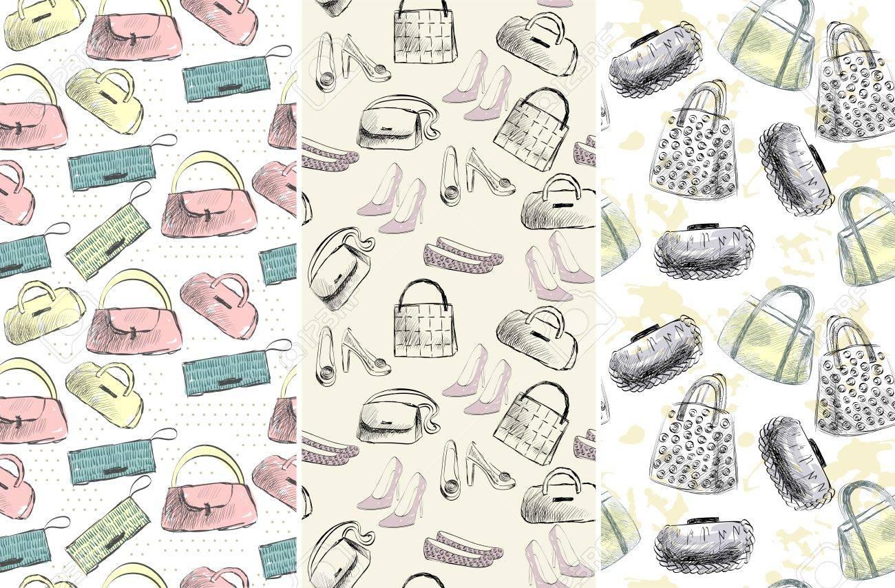 流行のファッションのハンドバッグ。おしゃれな手描きイラスト