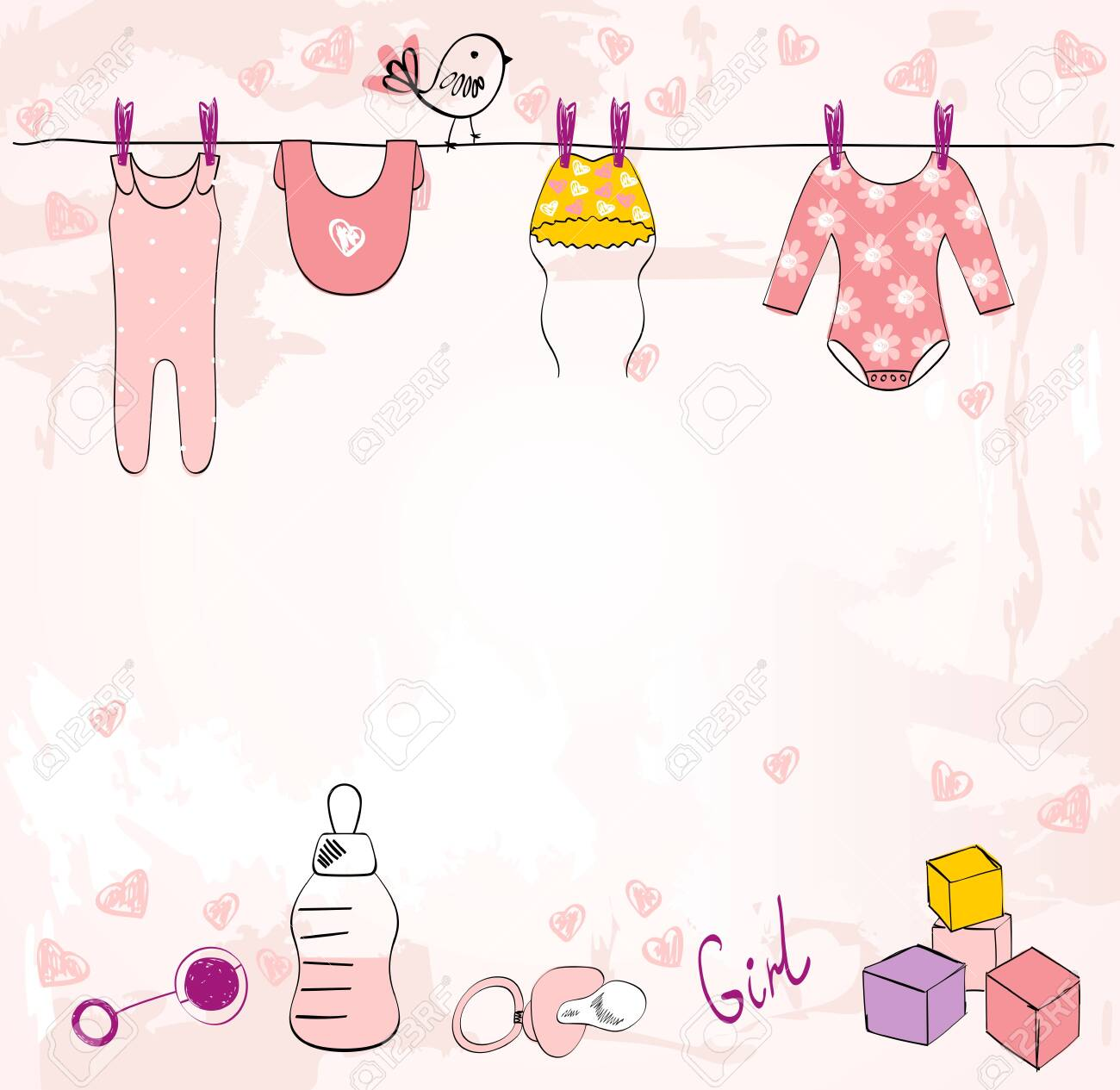 Vector baby shower. Cute card for girl with baby elements. - 124358705