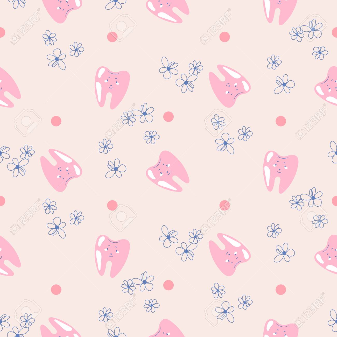 Cute Teeth Baby Dental Pink Pattern Background Seamless Tooth Royalty Free Cliparts Vectors And Stock Illustration Image 114792930