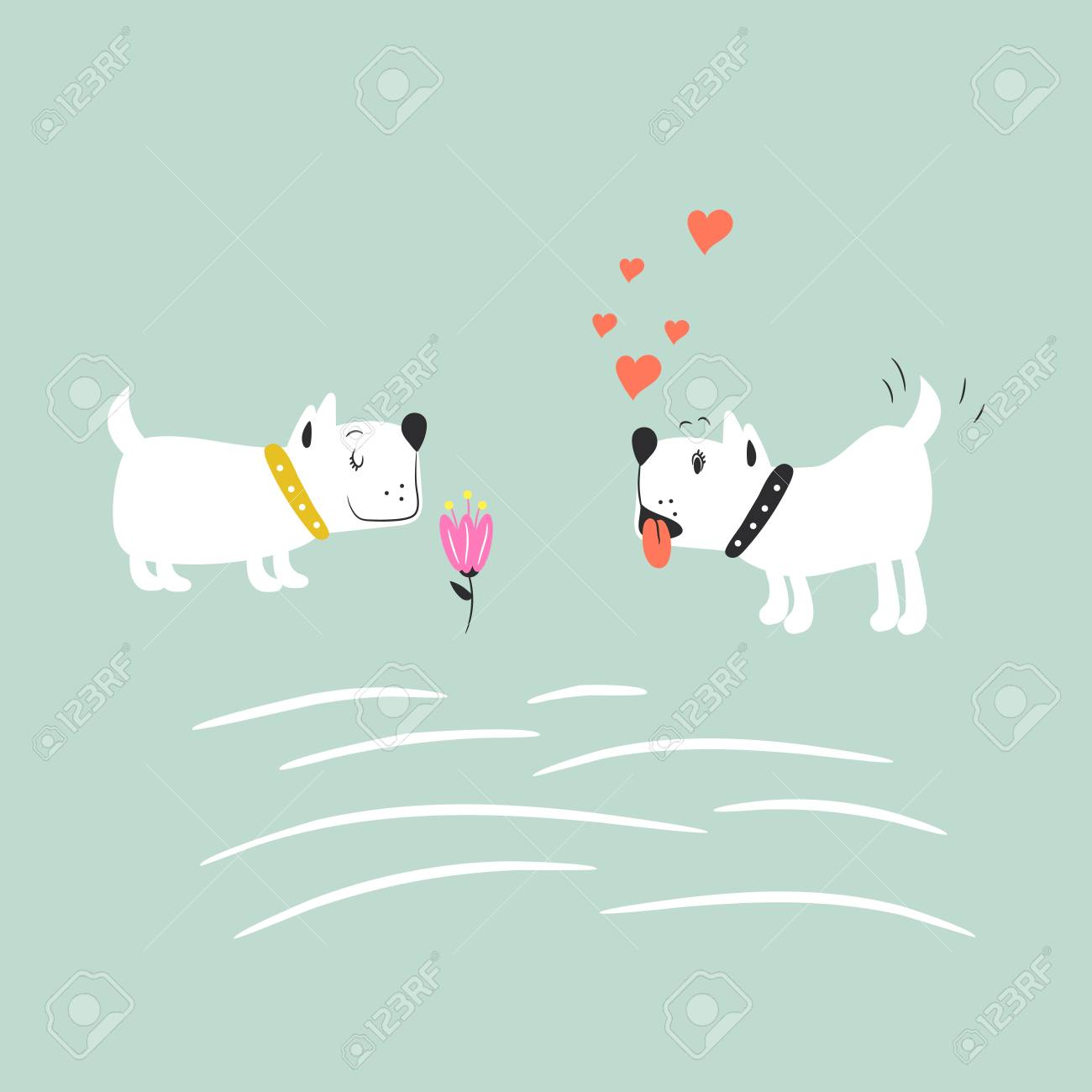 Adorable Puppies In Love Vector Illustration Cute Dogs Romantic Royalty Free Cliparts Vectors And Stock Illustration Image 111775959