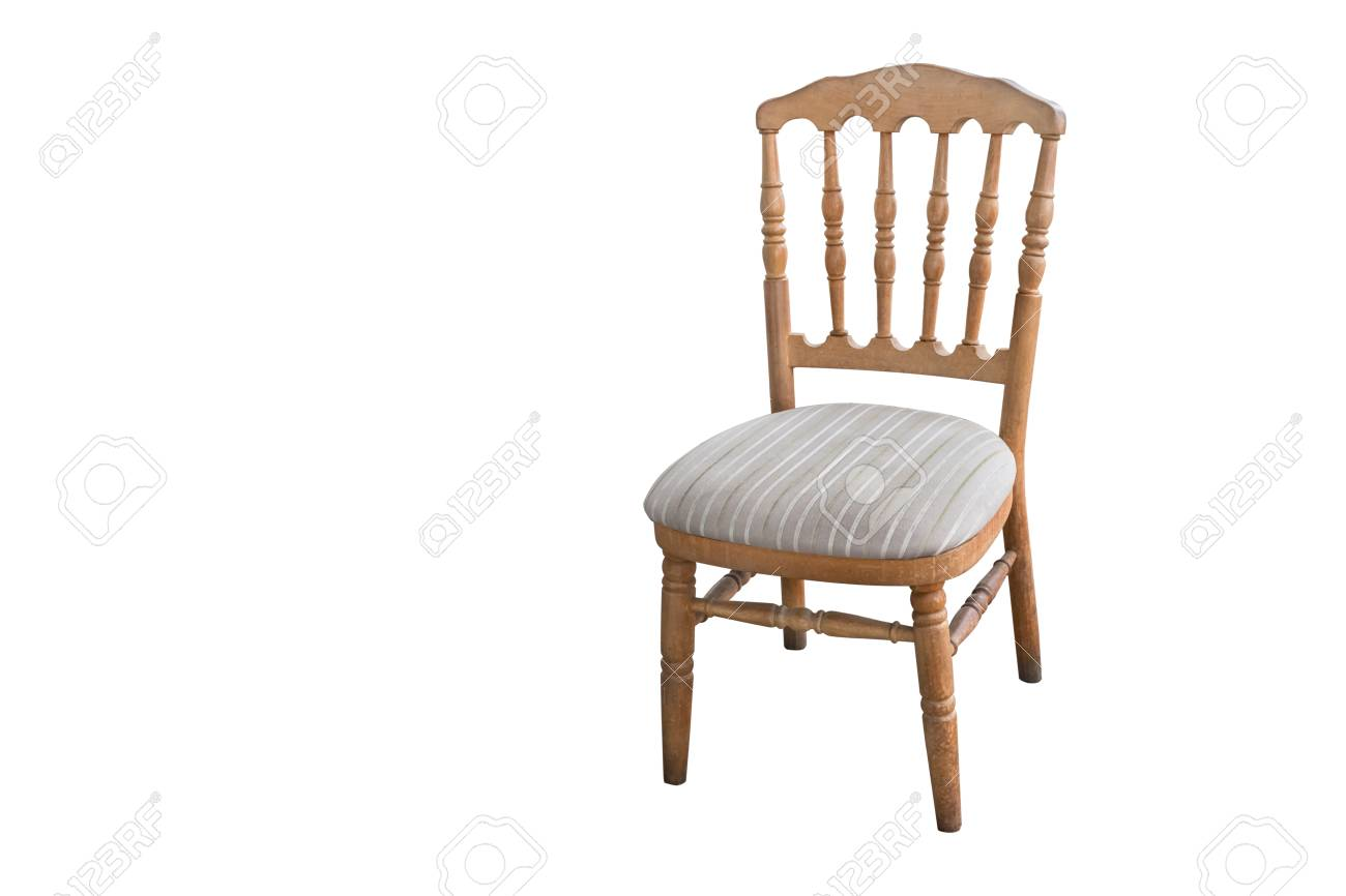 Old Fashioned Wooden Carved Wooden Chair, Isolated On White Background  Stock Photo   88708029