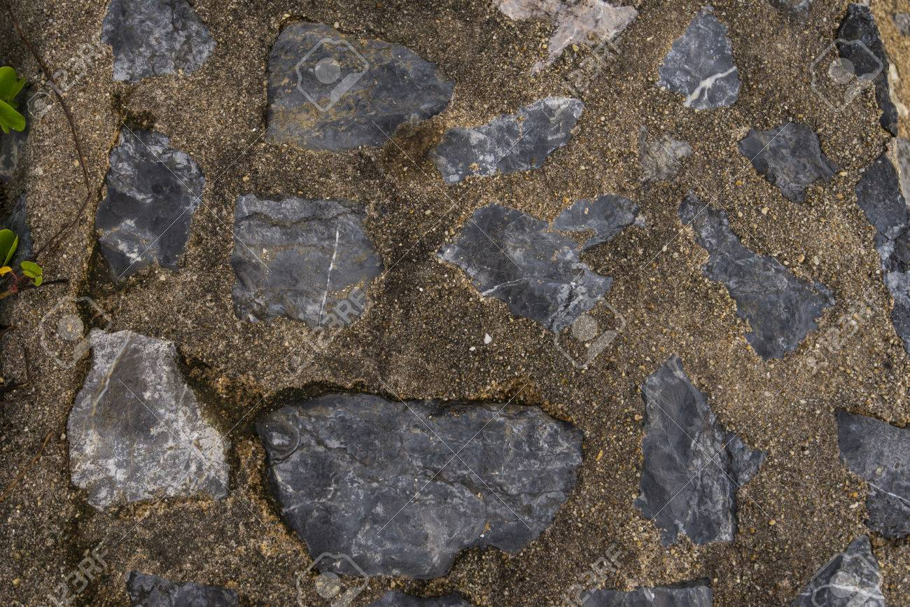Cement Mixed Gravel Stone Floor Background Top View Stock Photo