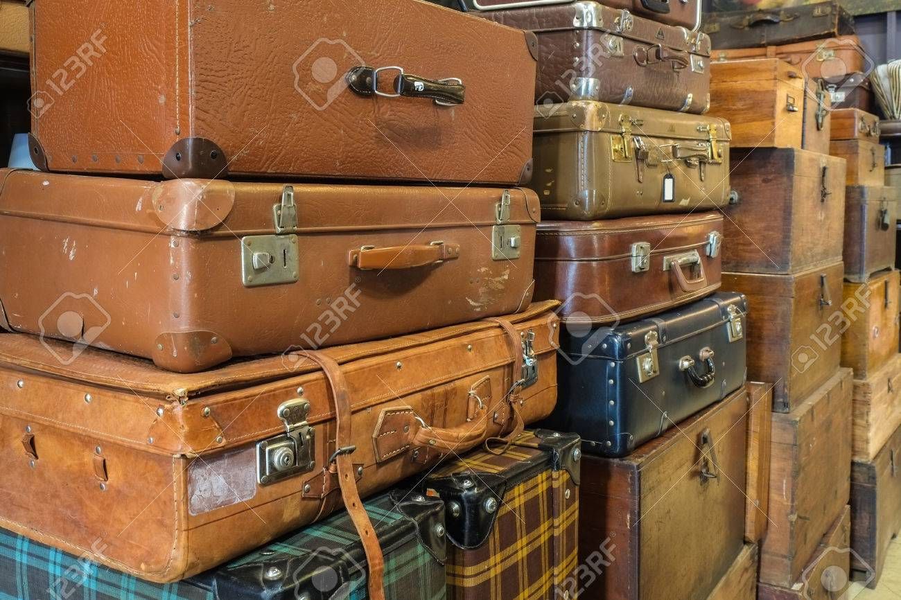 Old Suitcases Pile Of Vintage Old Suitcases In Warehouse Stock Photo Picture