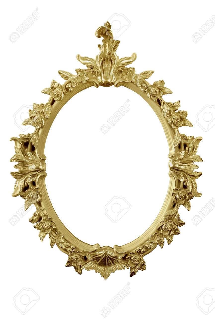 Golden Spiegelrahmen Isoliert Auf Weiß Mit Teilrestreflexion ...