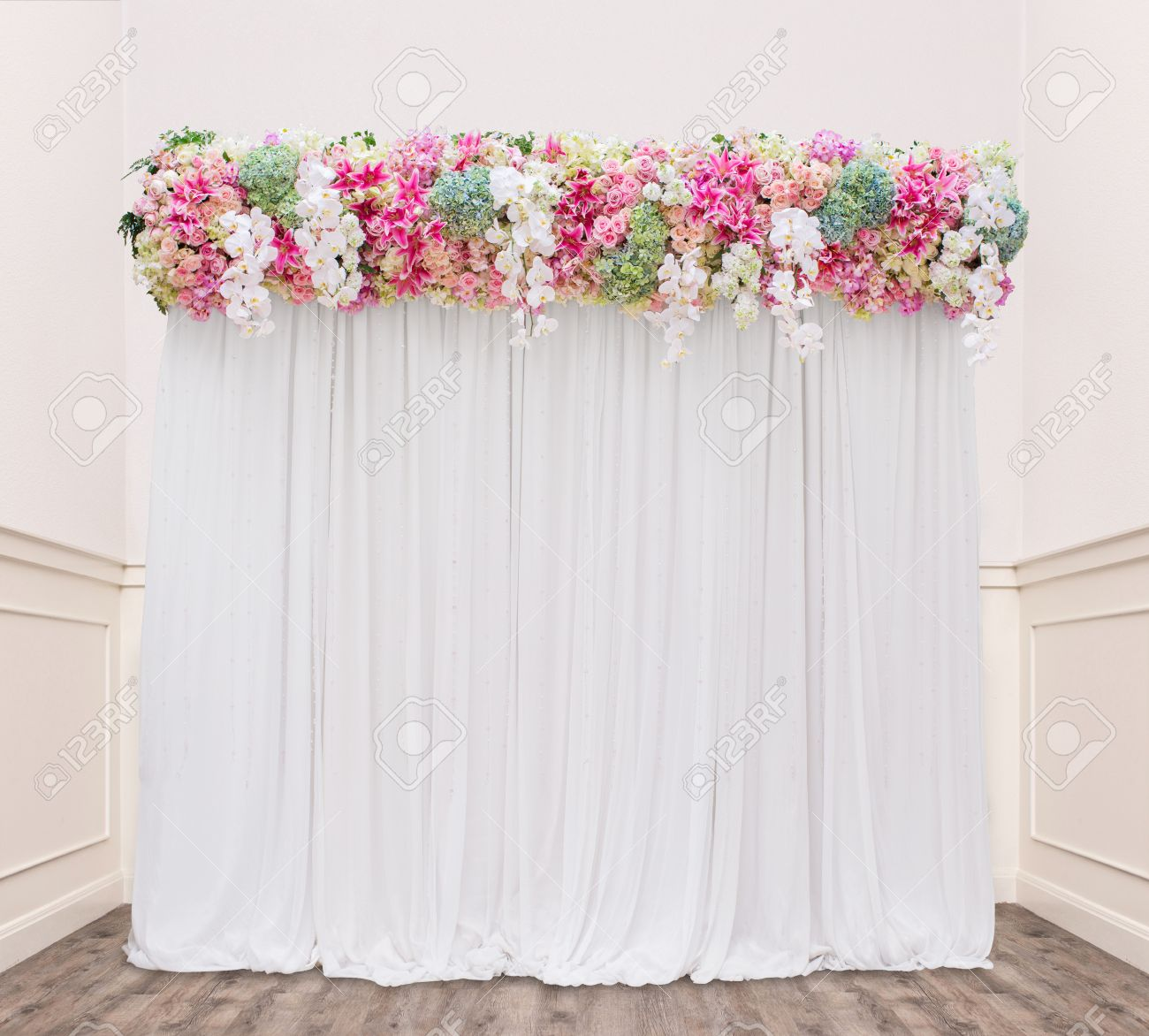 Floral Backdrop In Cozy Room At The Wedding Stock Photo Picture And